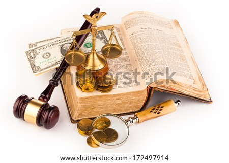 gavel scales of justice,money and old book - stock photo