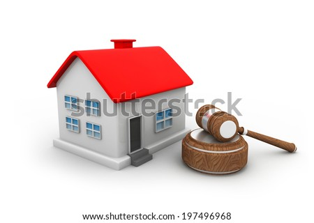 Gavel with house - stock photo