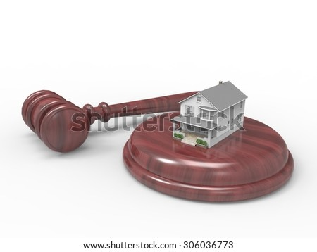 gavel with tiny house