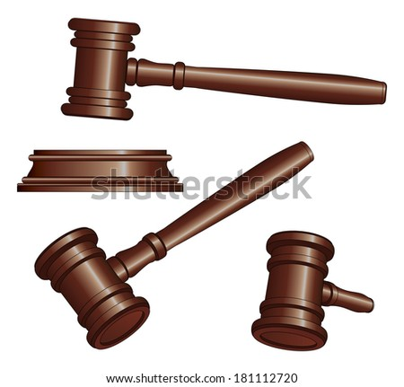 Gavels is an illustration of three versions of a gavel used by court judges and other symbols of authority. Gavels are used to call for attention or to punctuate rulings and proclamations. - stock photo