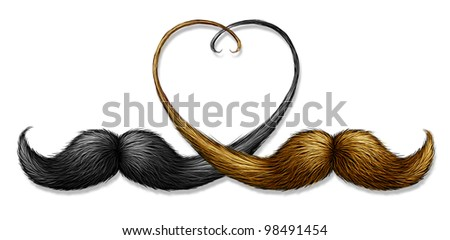 Gay and homosexual relationships concept with two mustaches with blond and black hair combined as a partnership and union in the shape of a heart as a symbol of marriage issues in modern society. - stock photo