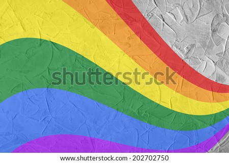 Gay and LGBT rainbow flag, culture symbol. Raster. Handmade textured background. - stock photo