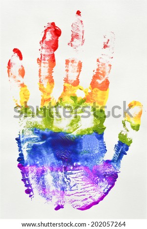 Gay and  LGBT rainbow flag hand. Culture symbol. Handmade. Textured, made with acrylic paint and paper. - stock photo