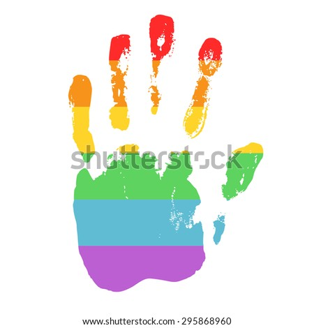 Gay and LGBT support symbol. Rainbow handprint isolated on white background. Real texture of hand imprint. Typography design element for posters, banners, icons and prints. - stock photo