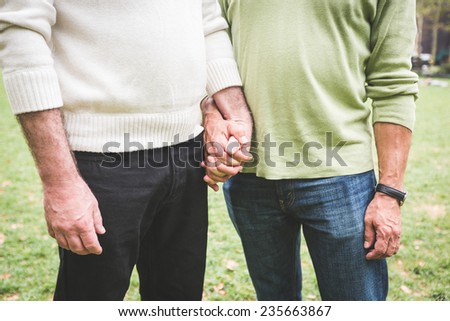 Gay Couple Holding Hands at Park