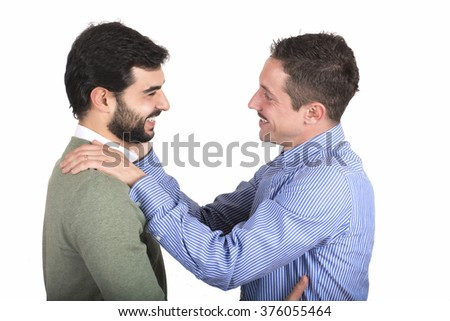 Gay couple in love, isolated on white - stock photo