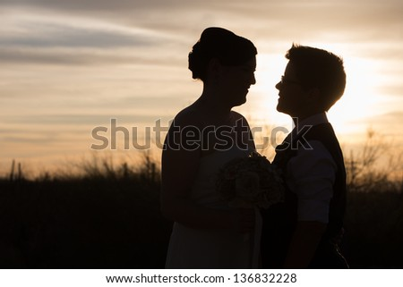 Gay couple married in front of beautiful sunset - stock photo