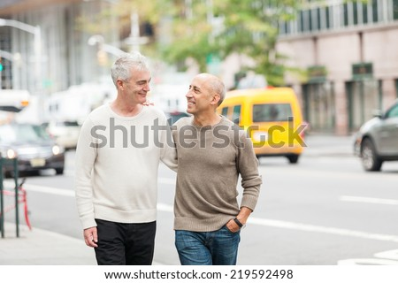 Gay Couple Walking in New York - stock photo