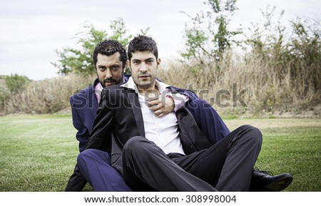 Gay couples in civil marriage, love and relationship - stock photo