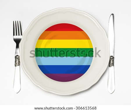 Gay flag plate - stock photo
