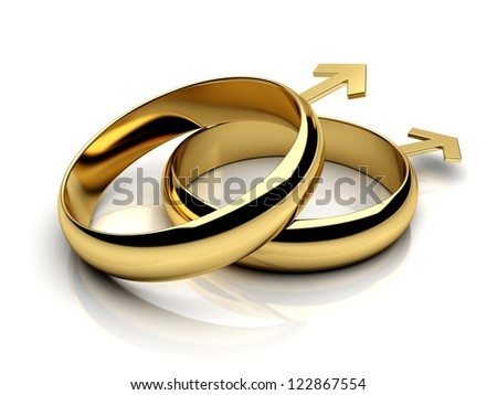 Gay male wedding rings  on a white reflective isolated background. 3D render. - stock photo
