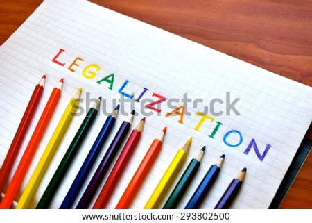 Gay Marriage Legalization concept. Drawn with colorful pencils on white paper. - stock photo