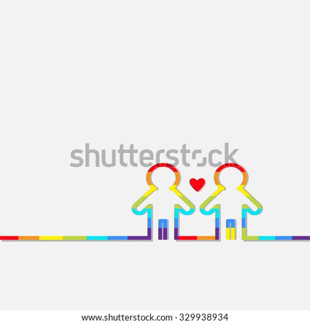 Gay marriage Pride symbol Two contour rainbow man LGBT icon Red heart Flat design  - stock photo