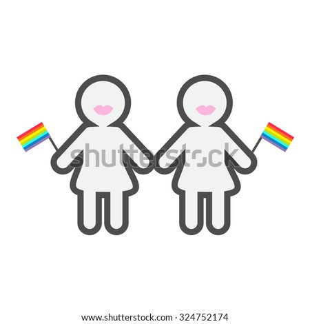 Gay marriage Pride symbol Two contour women with lips and rainbow flags LGBT icon Flat design  - stock photo
