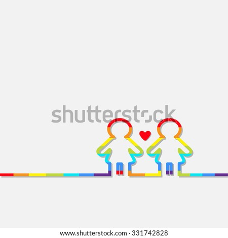 Gay marriage Pride symbol Two rainbow contour women sign with red heart Love LGBT icon Flat design - stock photo