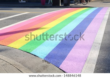 Gay Pride Crosswalk, Vancouver. Vancouver�s first permanently rainbow colored  crosswalk at the intersection of Davie and Bute in downtown Vancouver, British Columbia, Canada. - stock photo