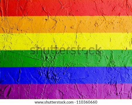 Gay pride flag painted on wall