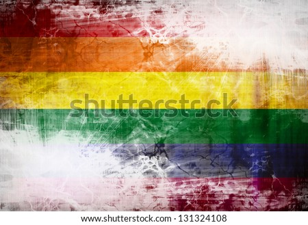 Gay pride flag waving in the wind