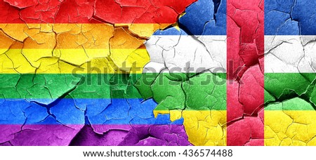 Gay pride flag with Central African Republic flag on a grunge cr