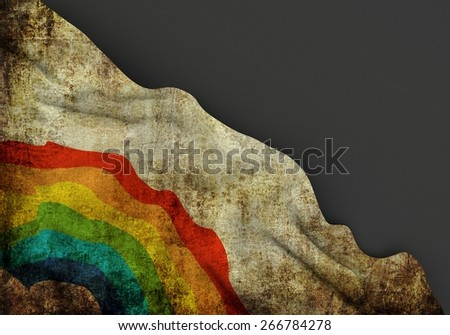 Gay symbol 3d corner flag overlaid with grunge texture - stock photo