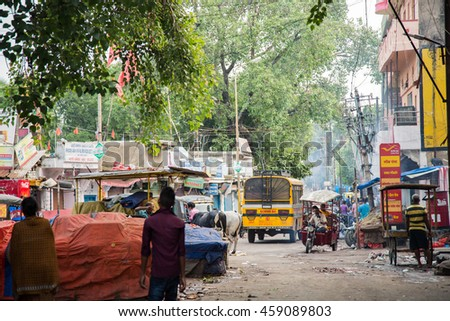 GAYA,INDIA - 19 July 2016 : A local market located next to Bodhi Gaya sell almost everything from agricultural product to souvenir.