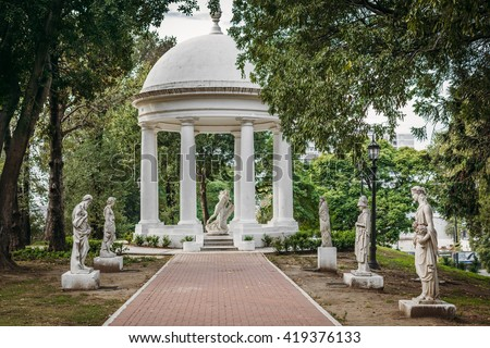 Gazebo and sculpture garden in Lezama park, located in San Telmo district, Buenos Aires, Argentina.
