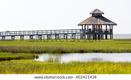 gazebo at the edge of an estuary