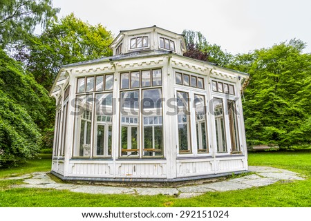 Gazebo. Botanical park in Gothenburg. Summer 2015. A nice place to be. Photo by Bjorn Carlsson - stock photo