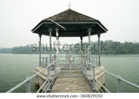 Gazebo for controlling water at McRitchie reseirvoir, Singapore - stock photo