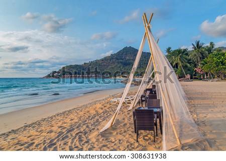 gazebo in Tropical rock beach summer nature landscape - stock photo