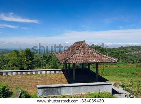 Gazebo overlooking the landscape of Bali - stock photo