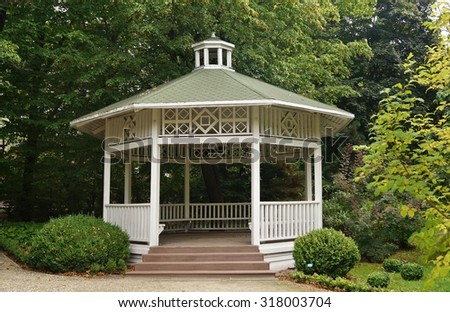 Gazebo, pergola in parks and gardens - relax and unwind - stock photo