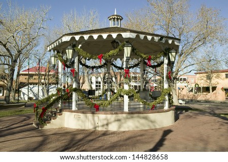 Gazebo wrapped in Christmas decoration in the Old Town of Albuquerque, New Mexico