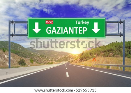 Gaziantep road sign on highway