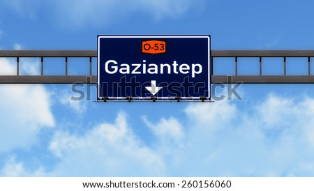 Gaziantep Turkey Highway Road Sign - stock photo