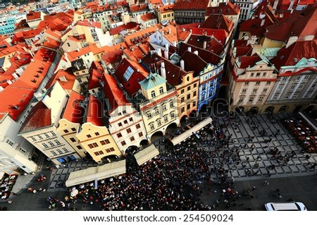 Gazing the Old Town Square from Clock Tower of Prague - stock photo