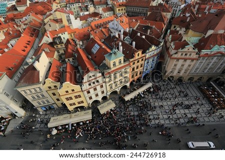 Gazing the Old Town Square from Clock Tower of Prague, Czech Republic - stock photo