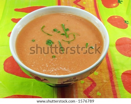 Gazpacho soup a cold, Spanish liquid salad that is popular in warmer areas and during the summer. Andalusian food and drink