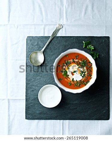 Gazpacho soup with cream cheese with fresh parsley - stock photo