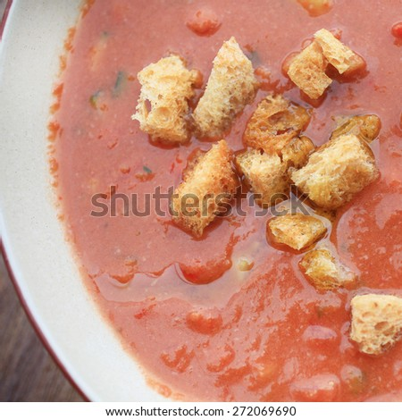 Gazpacho soup with croutons - stock photo