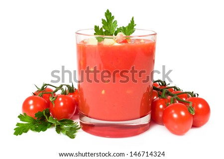 gazpacho with fresh cherry tomatoes and parsley isolated on white