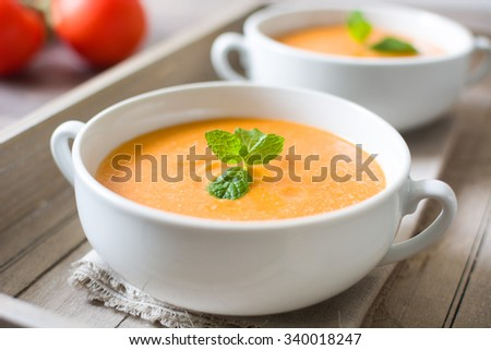 Gazpacho with tomato,garlic, cucumber and pepper. Spanish food