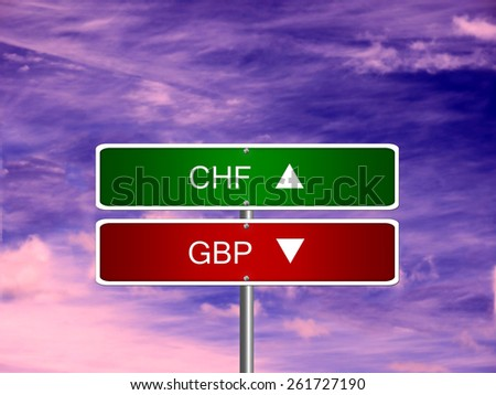 GBP CHF UK Switzerland pound sterling swiss franc symbol currency money. - stock photo