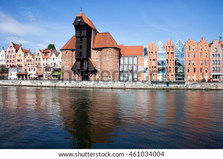 Gdansk in Poland, city skyline with The Crane medieval landmark, river view