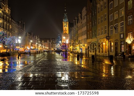 Gdansk, old city, town hall at night