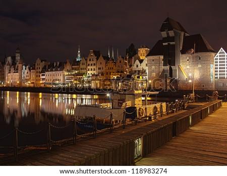 Gdansk old port at night, Poland - stock photo