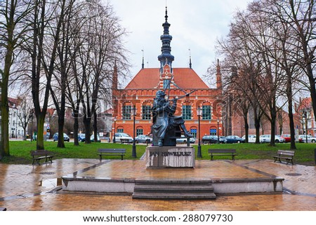 GDANSK, POLAND - APRIL 1, 2015: Monument of Jan Heweliusz , Gdansk is located in northern Poland and is very popular tourists destination - stock photo