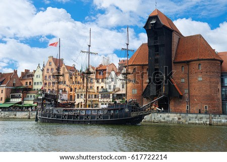 GDANSK, POLAND - APRIL 6, 2017: View of the riverside in Old Town by the Motlawa river, Gdansk is located in northern Poland and is very popular tourists destination