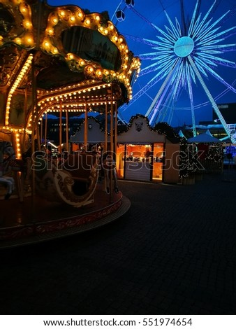 GDANSK, POLAND - DECEMBER 07, 2016: Fun and rest in the city, carousel at night in the city center.