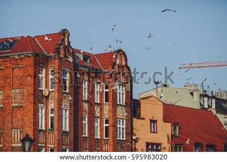 GDANSK, POLAND - FEBRUARY 16, 2017: Evening in the old town of Gdansk, winter time